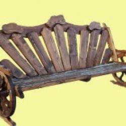 Лавка деревянная на колесах